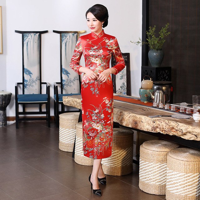 Women Classic Cheongsam Rayon Floral Evening Party Dress