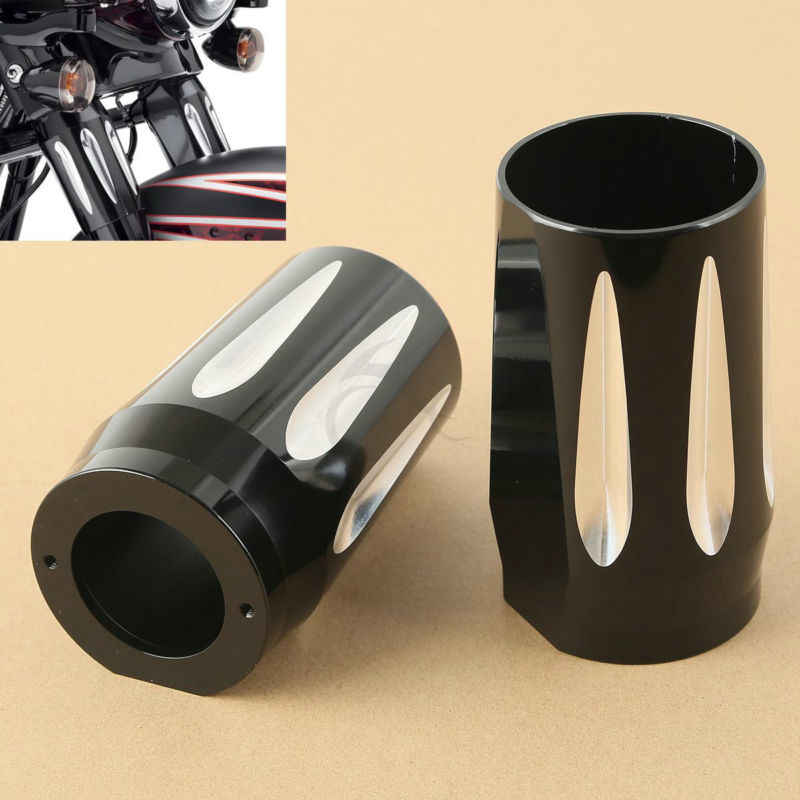 Motorcycle Black CNC Fork Boot Slider Cover Cow Bell For Harley Touring 14 17 Electra Road