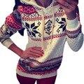 Осень зима женщины рождество снежинка футболка толстовки лучших потливость руно пуловер