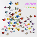 19pcs 3D Butterfly Wall Sticker Decal Removable Home Decor Art Colorful Room Paper Stickers Emulational