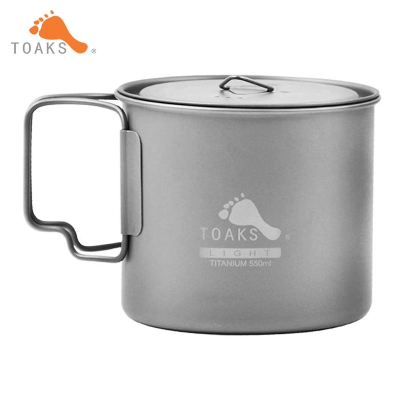 ФОТО Manufacture Best price TOAKS 3in1 Titanium Pot Outdoor Camping Titanium Bowl Portable Ultralight Titanium Cup 550ml POT-550-L