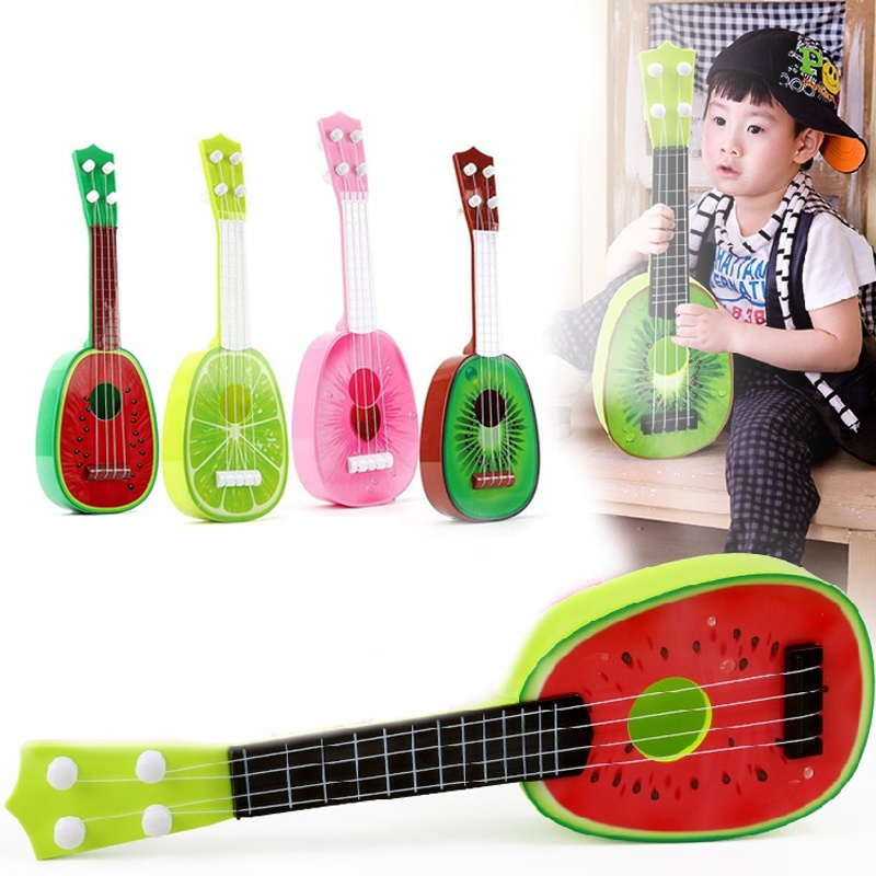 Musical Ukulele Kids Cute Fruit Guitar Creative Toy Music Ukelele Baby Play Uke 4 Strings Gift 8 Style Dropshipping Educational