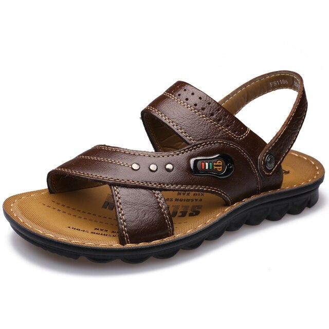 Мужчины Пляж Слайды Корейской Версии Случайные Сандалии Моды Обувь Из Натуральной Кожи (Коричневый)