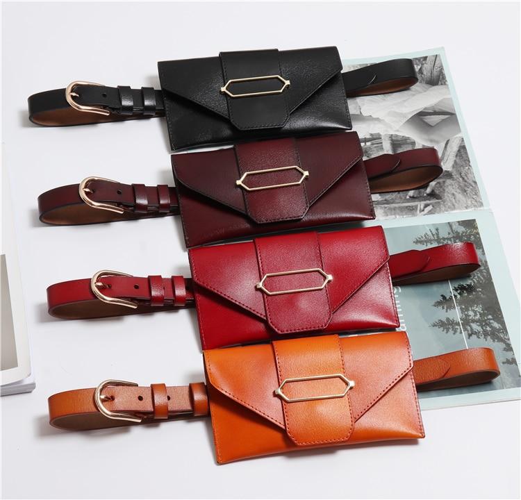 Luxury Genuine Leather Waist Belt WIth Bag Fashion Solid Soft Cow Skin Phone Money Fanny Packs Women Female Waist Fanny Bag New