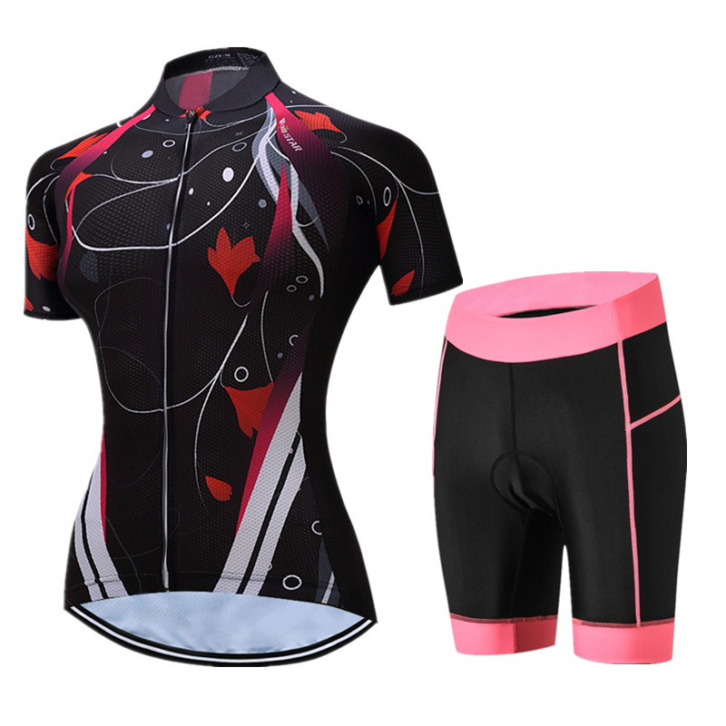 Short Sleeve MTB Bike Clothing Women Breathable Cyling Jersey Set Ropa Ciclismo 100% Polyester Bicycle Jersey Clothes