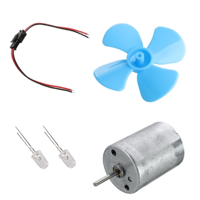 Wind Turbine Generator DIY Kit Micro Motor+Diode Plug Four Blue Leaf Paddle