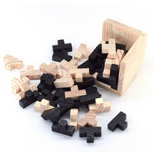 Educational Wood Luban Lock For Adults Kids Magic Cube Style Brain Teaser 3D Russia Kong Ming