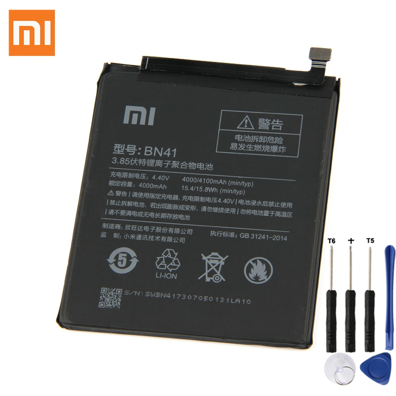 Original XIAOMI BN41 Battery For Xiaomi Redmi Note 4 Hongmi Redrice Note4X 4G+ High Edition Authentic Phone Battery 4100mAh authentic xiaomi instant me 100