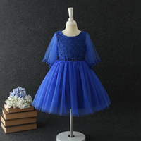 Birthday Navy Blue Girl Dress Transparent Half Sleeve Girl Vestido 2019 Party Girls Clothes of 3 4 6 8 10 12 Years Old RKF184082
