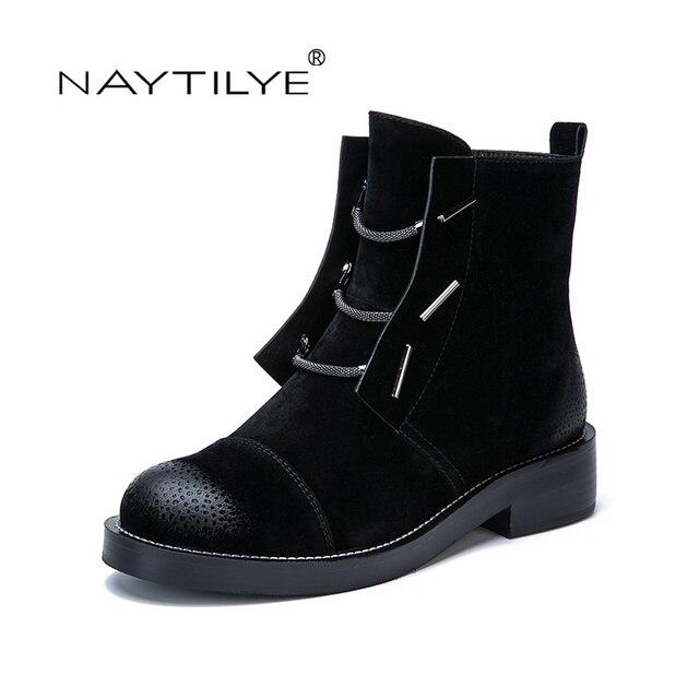 Naytilye 2017 новая качественная модная зимняя одежда ботильоны женская обувь с круглым носком на молнии природа шерсть с цепочкой черный, синий Размеры 36–41
