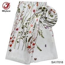 Fashionable Digital print silk fabric hot selling lovely pattern design nigerian real satin for garment SA17018