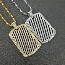"Hip hop Mens Full Iced Out Rhinestone Gold Silver Color Hollow Square Dog Tag Pendant 3mm*24"" Cuban Chain Blingbling Necklace(China)"