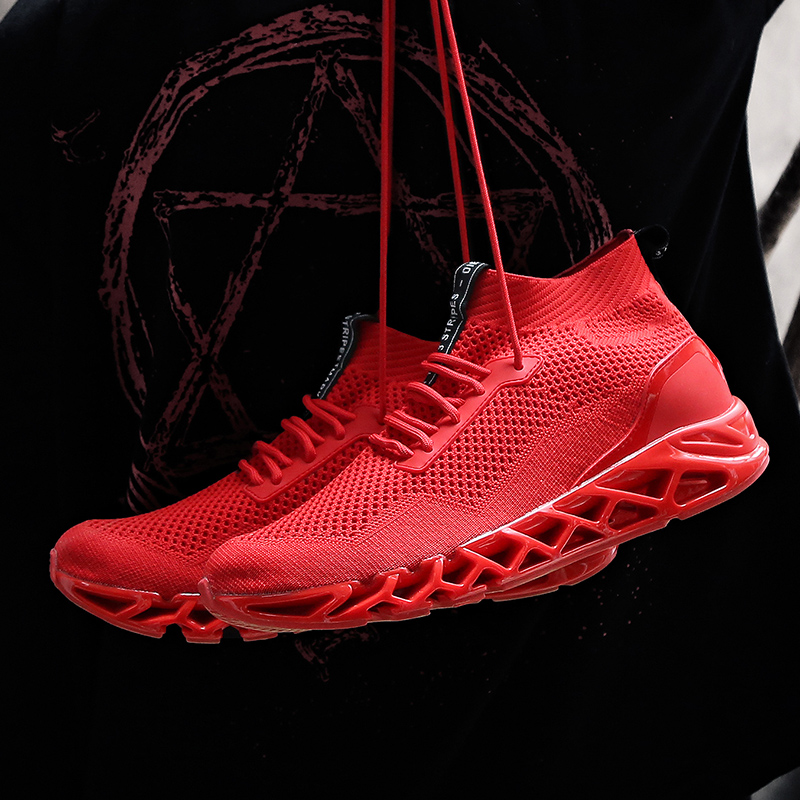 Summer breathable sports mens flying woven running blade shoes mens increased wild tide shoes