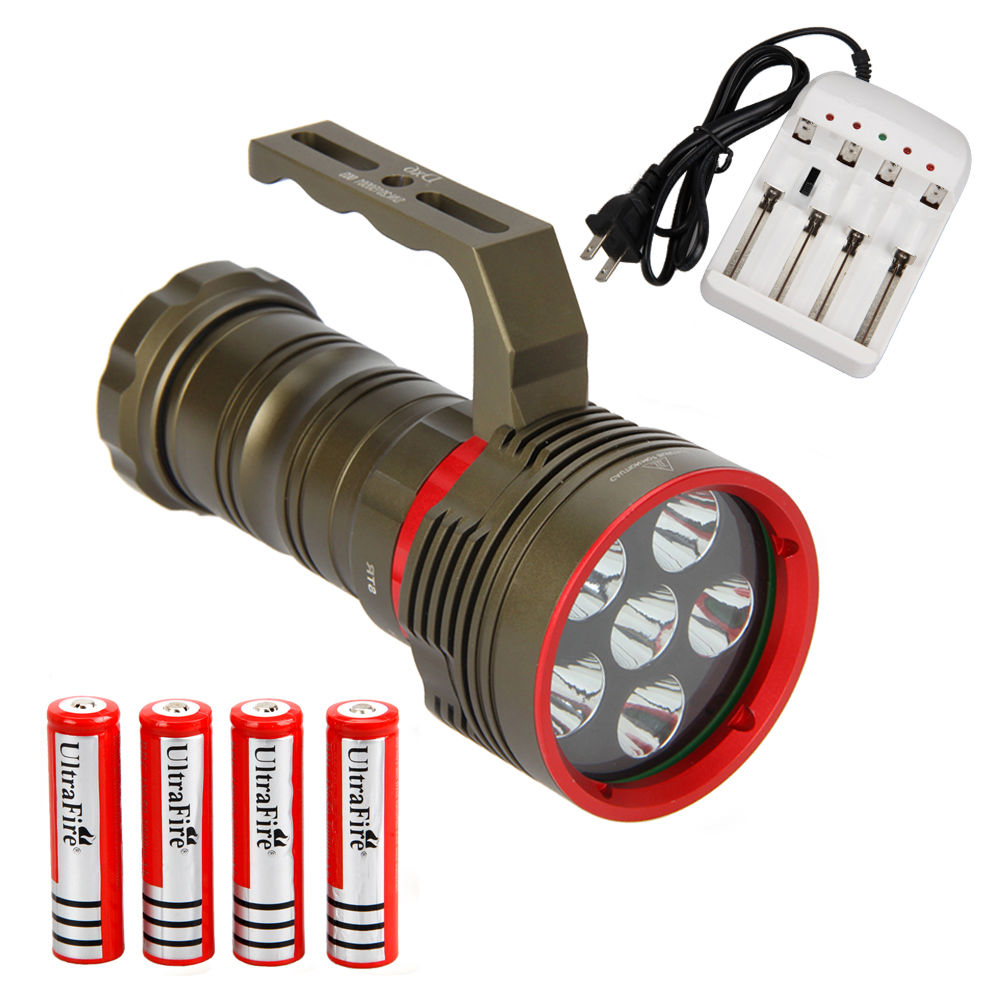 Underwater 100m 1200LM 6x XM-L2 LED Bright beam of light Diving Scuba Flashlight Torch 4x18650 Lamp 100m underwater diving flashlight led scuba flashlights light torch diver cree xm l2 use 18650 or 26650 rechargeable batteries