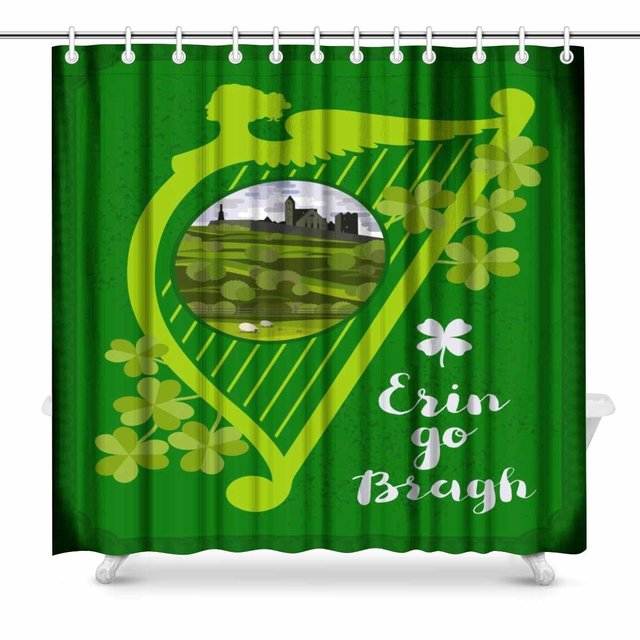 Aplysia Artistic Design Harp Irish Landscape With Cashel Castle Clover Leaves And Lettering Quote Bathroom Shower
