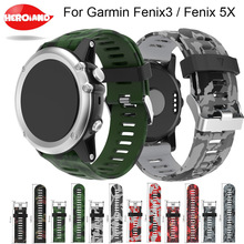 26mm Width Watch Strap Amry Green Colors Replacement Silicagel Soft Band wrist Strap For Garmin Fenix 3 HR GPS Watch/ Fenix 5X цена