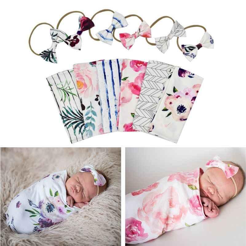 Реквизит для фотосъемки новорожденных, детские одеяла с принтом для новорожденных, пеленка для сна, муслиновая пеленка + повязка на голову, 2 предмета