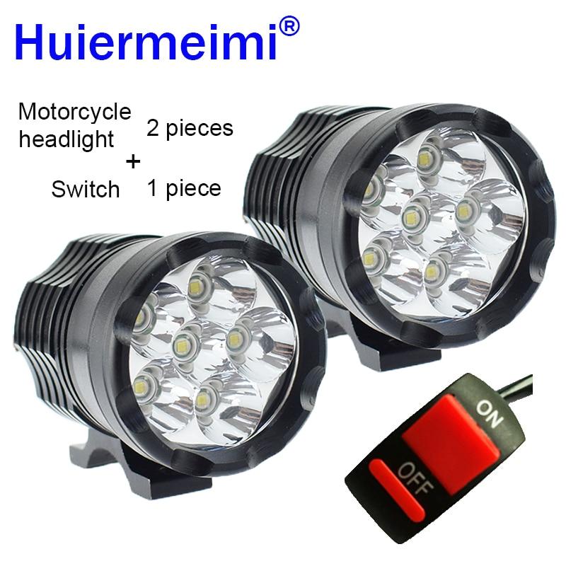 Huiermeimi 1Pair Motorcycle Headlights 12V 60W U2 LED Motorbike Spotlight Headlamps Moto Spot Head Lights Driving Auxiliary Lamp