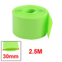 Uxcell 30mm Flat Width 2.5M Length PVC Heat Shrink Tube Green for 18650 Batteries Insulation casing shrink Hot Sale 1PCS