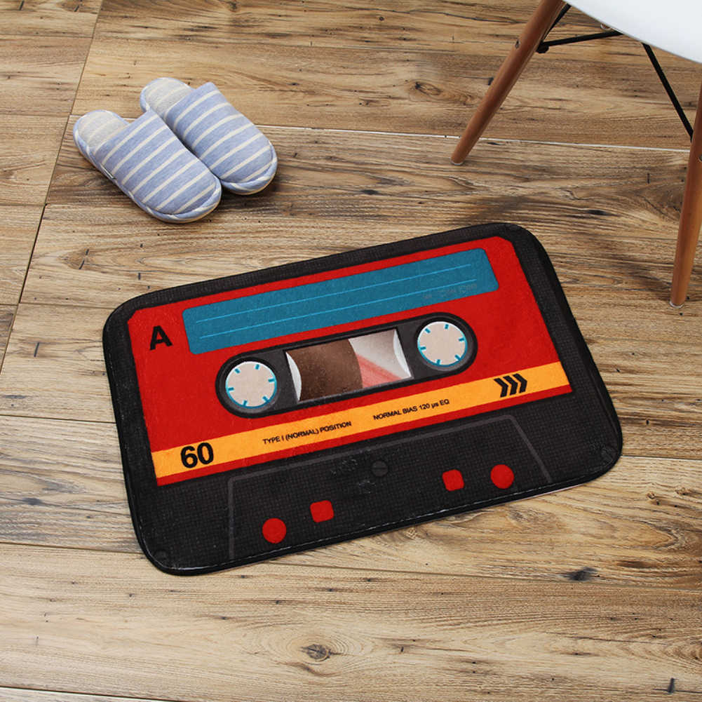 40x60cm Retro Creative Cassette Tape Anti-slip Mat Coral Velvet Mat Kitchen Bathroom Entrance Welcome Doormat Home Decor