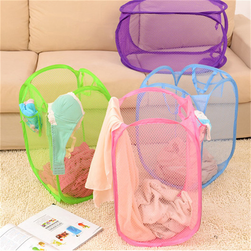 Nylon Mesh Fabric Foldable Large Laundry Basket Household Dirty Clothes Bag Washing Child Toy Storage Organization