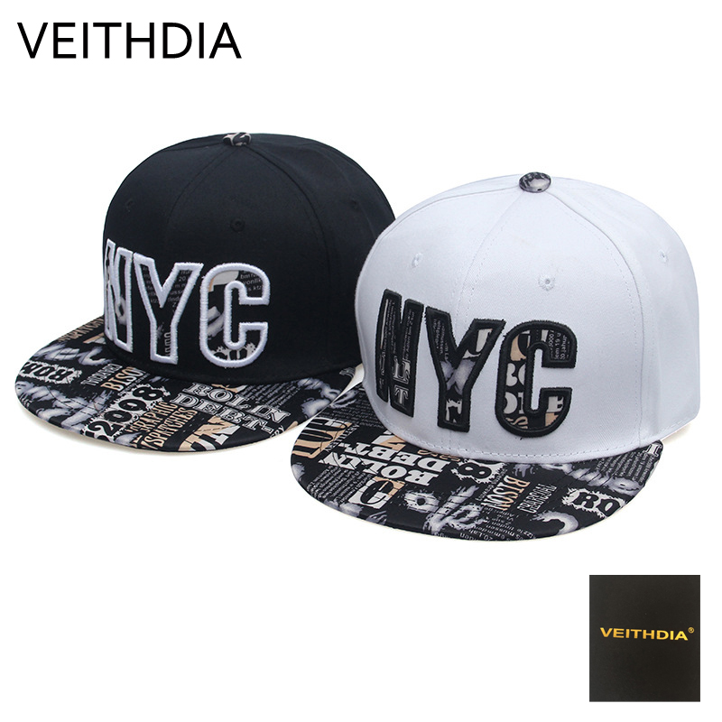 VEITHDIA Fashion New NYC letter Baseball Cap Stereo Embroidery Letter Hip Hop Hat Male Eyel Girl Summer Hat cn rubr fashion embroidery letter casual baseball cap outdoor climbing hip hop cap 6 colors cotton unisex spring summer hat