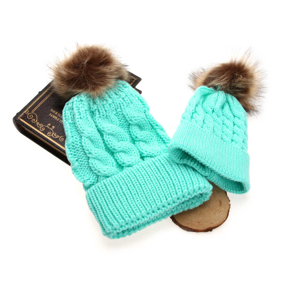 ... Mom Baby Pompon Hat Baby Boys Girls Warm Raccoon Fur Hat Bobble Beanies  Cap Kids Parent ... b5555cf7dbdc