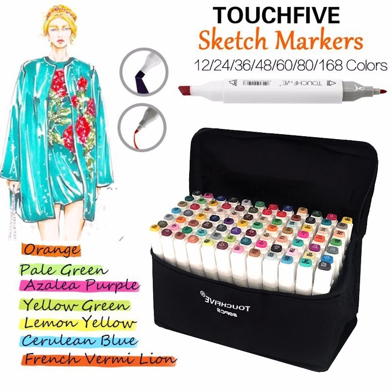 TOUCHFIVE 30/40/60/80 Colors Artist Painting Art Marker Pen Head Oil Art Sketch Graffiti Markers Set Designers school supplies 80 colors painting art marker pen alcohol marker pen cartoon graffiti dual headed sketch markers set art supplies black white