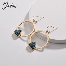 Joolim Jewelry Wholesale/ Druzy Stone Triangle Hoop Earring