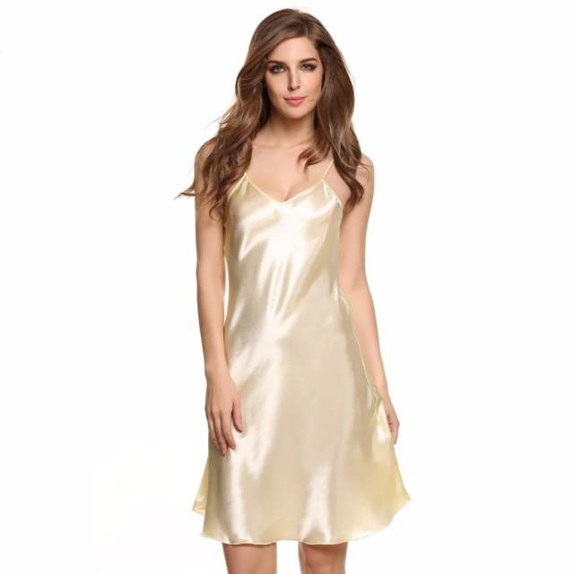 6410ac0b1 Hot Summer Satin Nightwear Sexy Silk Nightgown Women Short Mini Sleepwear  Nightdress Full Slip Bride Nighties