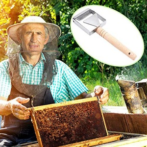 Image 2 - Entdeckeln Schaber Waben Honig Schaber Werkzeuge Holzgriff Bienenzucht Werkzeug Ausrüstung Entdeckeln gabel
