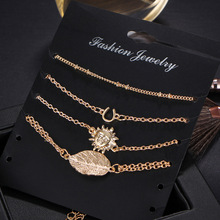 4 Pcs/Set Punk Sun Leaf Ankle Bracelets for Women Vintage Gold Color Chain Link Anklet Beach Accessories Jewelry