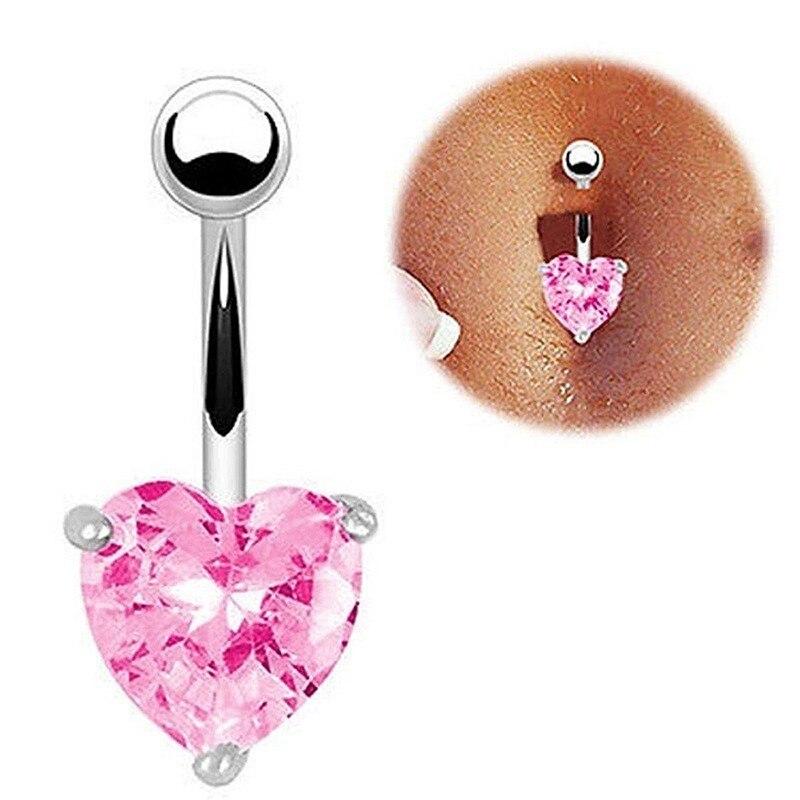 Belly-Button Stud Jewelry Rings-Body Crystal Ombligo-Navel Septum Titanium Heart Nombril