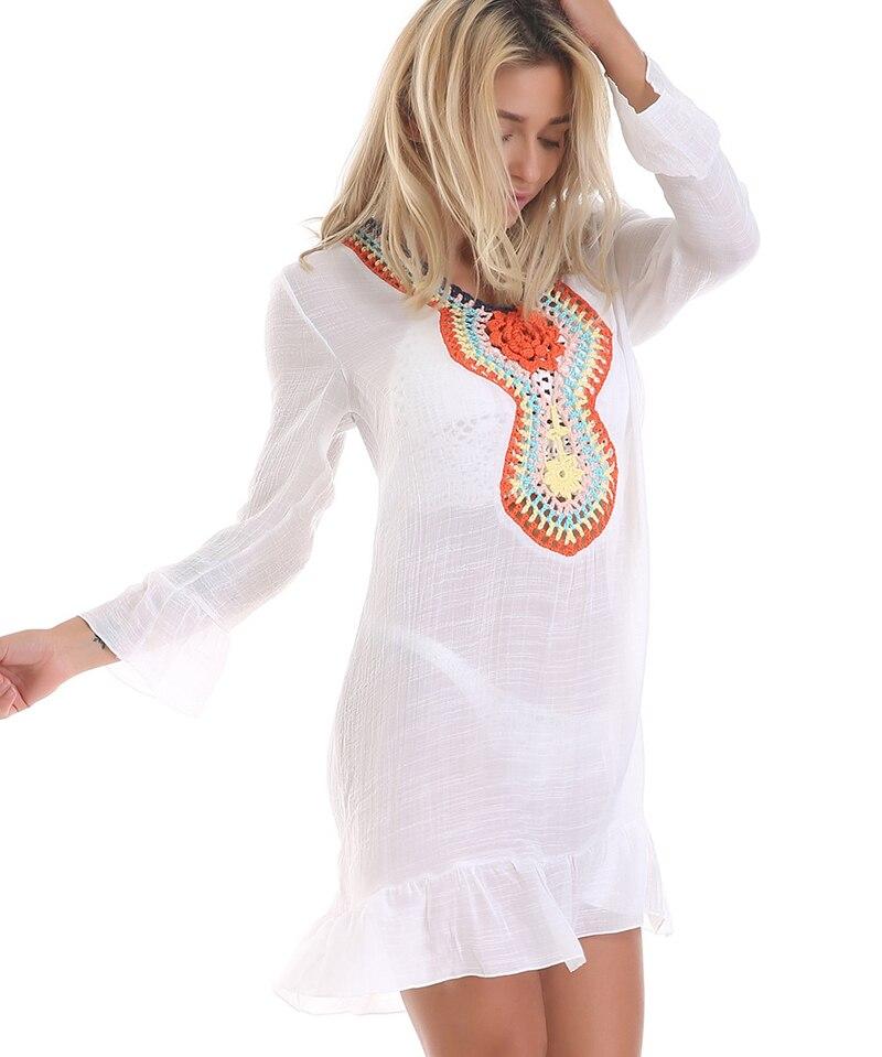 Simenual Pareos BOHO Women Beach Dress Floral Crochet Casual Sundress Summer 2019 Fashion Sexy Swimwear Ladies Dresses Vintage