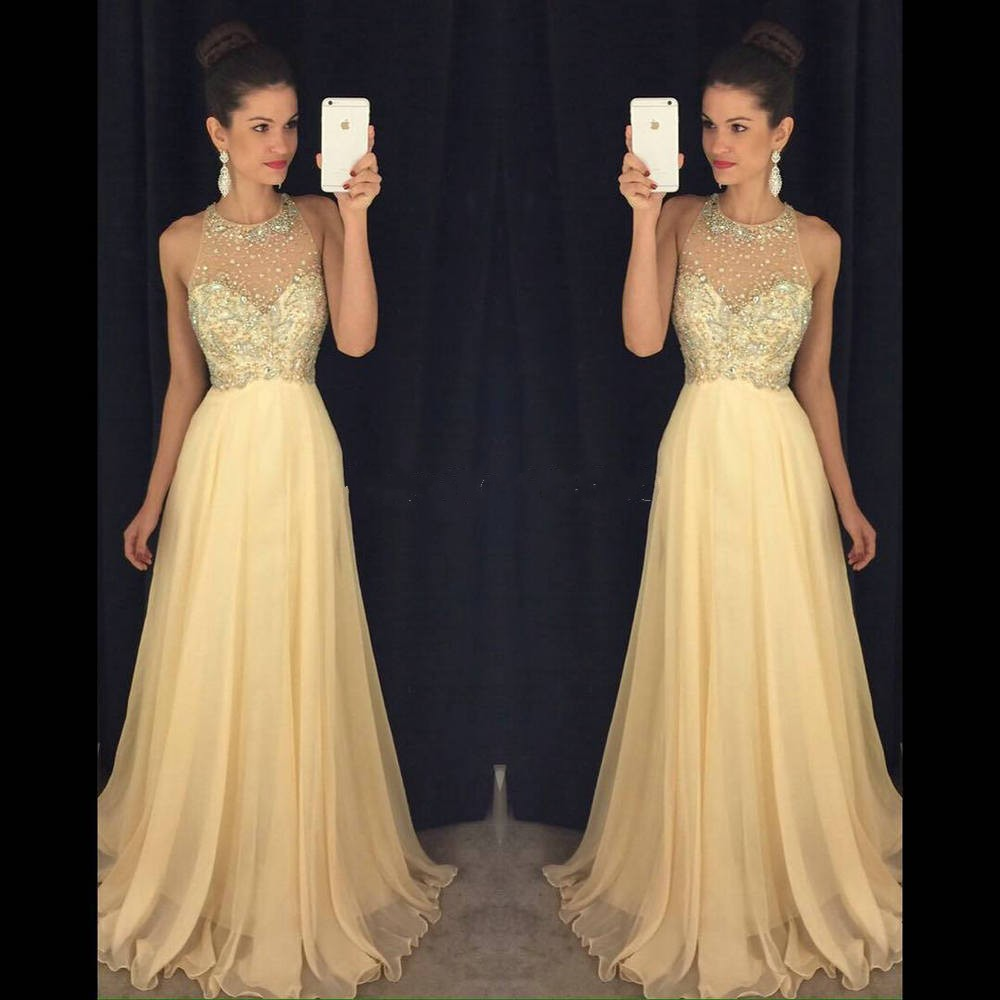 YSFS Elegant O Neck Champagne Aqua Prom Dresses 2017 Crystal Beaded Keyhole  Back Chiffon Long Evening Party Prom Gowns -in Prom Dresses from Weddings  ... 3d4ae9ebb74f