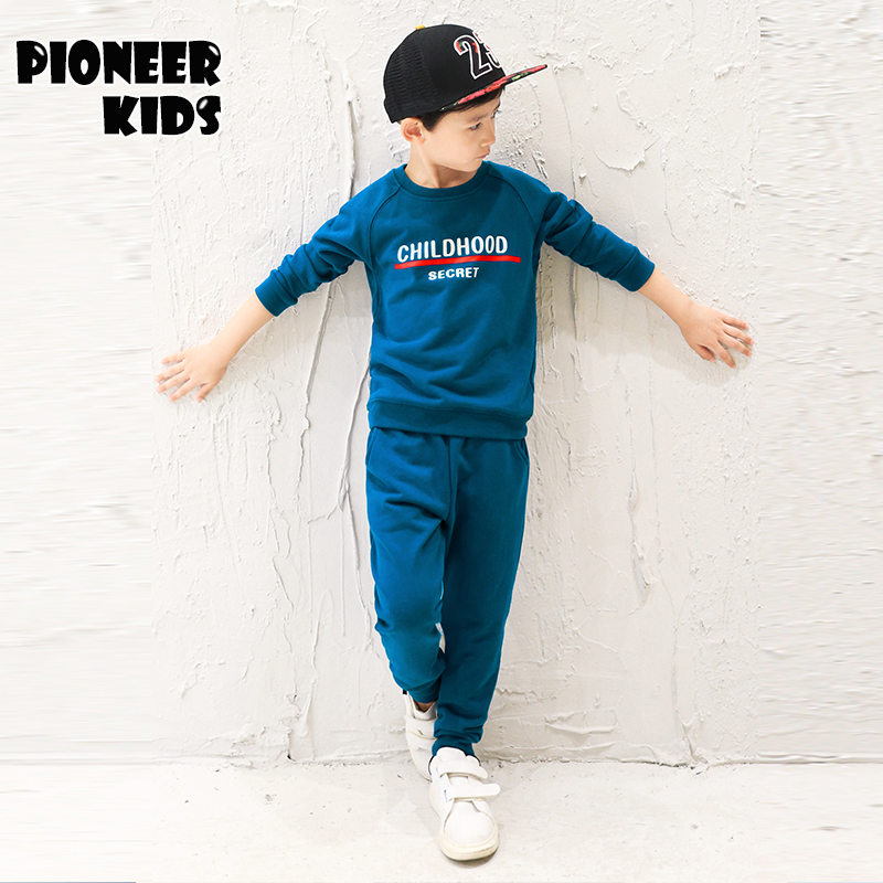 Pioneer Kids Spring/Autumn boys sets 2016 long sleeves, Navy Long Sleeve Pullover Striped Sports Suit, Casual Boys Clothing Set