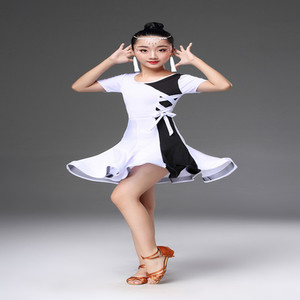 Image 5 - White black latin dance competition dresses latin dance dress for girls kids latin dance costume for girls kids