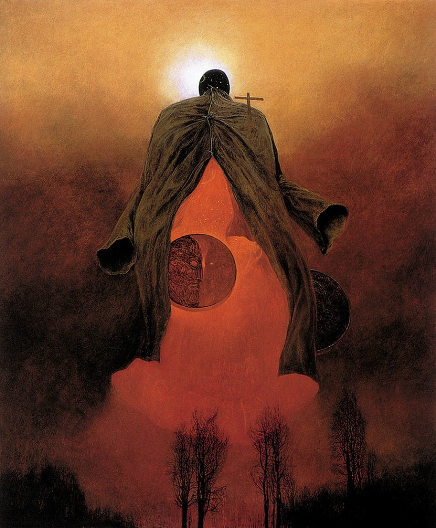 god of death moon Zdzislaw Beksinski Artwork Home Decoration art work painting Print On Canvas unframed Free Shipping