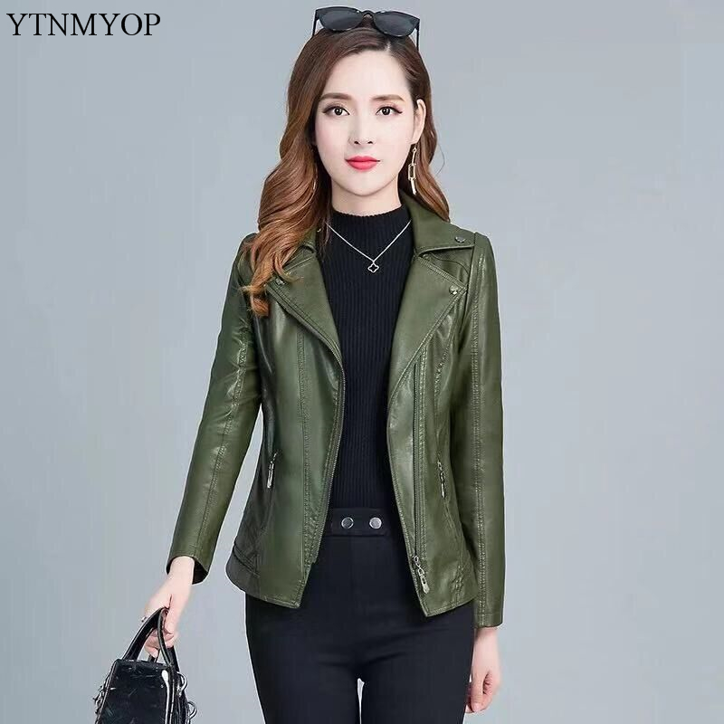 YTNMYOP 2019 Women   Leather   Jackets Plus Sizes 5XL Army Green Faux   Leather   Coat Female   Leather   Clothing Casual Outerwear