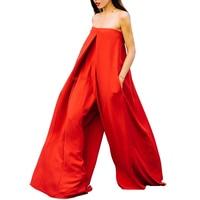 AEL Red Super Loose Jumpsuit Women Boat Neck Sleeveless Summer Long Jumpsuit 2018 Street Wear Fashionable Wide Leg Jumpsuit