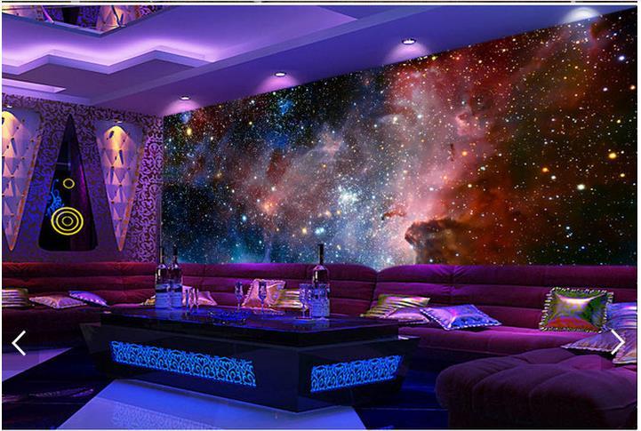 Купить с кэшбэком Custom 3d photo wallpaper 3d wall murals wallpaper 3 d cool dreamy purple cloud sky bar setting wall universe 3d room wallpaper