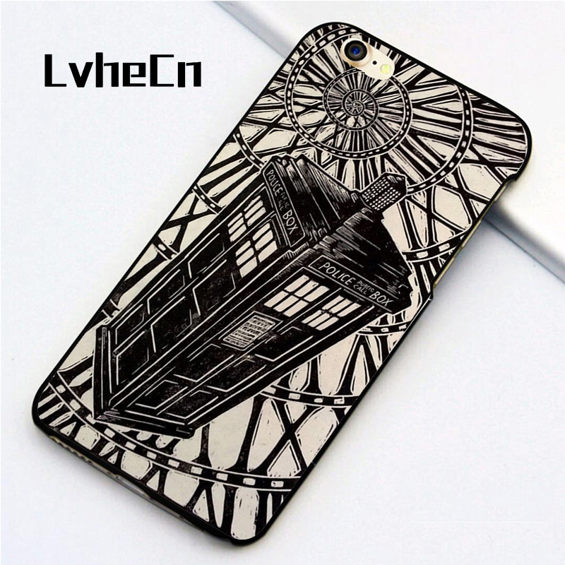 LvheCn 5 5S SE phone cover cases for iphone 6 6S 7 8 Plus X back skin shell BBC Doctor Who David Tennant Police Box