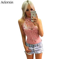 Aelorxin 2017 Summer Jumpsuit Sexy Lace Bodysuit Women Playsuit High Quality Female Sleeveless Black Gary Pink