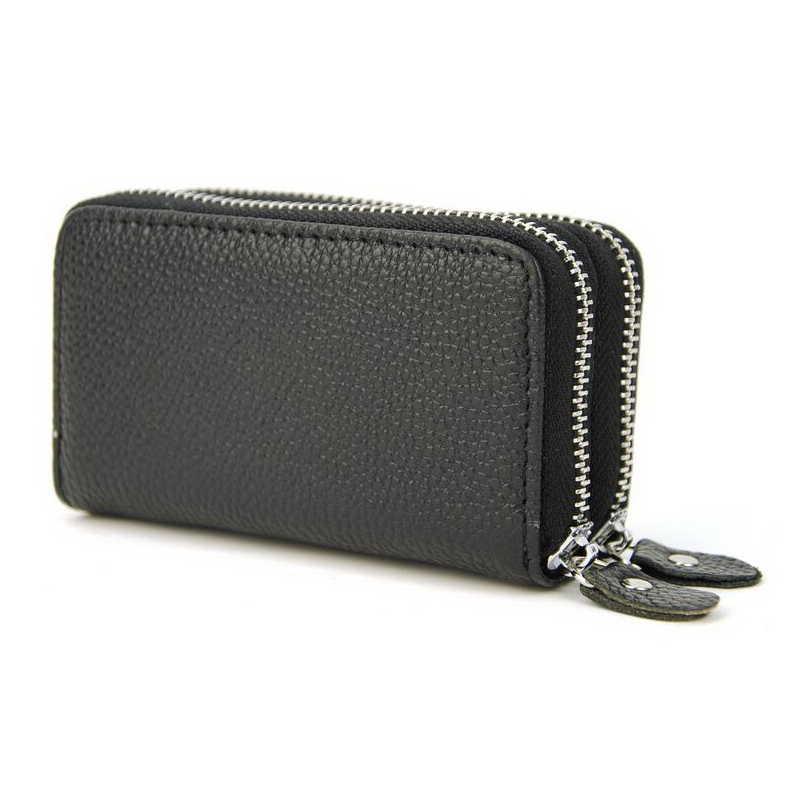 100% Genuine Real Cow Leather Coin Key Holder Wallet Bag Purse Card Pouch Wristlet Men Women Double Zip Around Classic Casual
