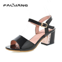 Big Size 11 12 Casual Buckle Strap Sweet Solid Square Heel Women S Shoes High Heels