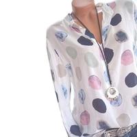 2018 Women Spring Blusas Shirt Dot Printed Long Sleeves Office Lady Blouse Shirts Blusa Casual Mulheres