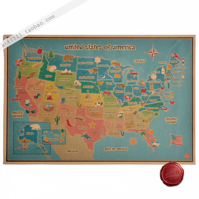 Cartoon map of the United States of America vintage style paper art crafts wallpaper for wall decor painting 60*40cm