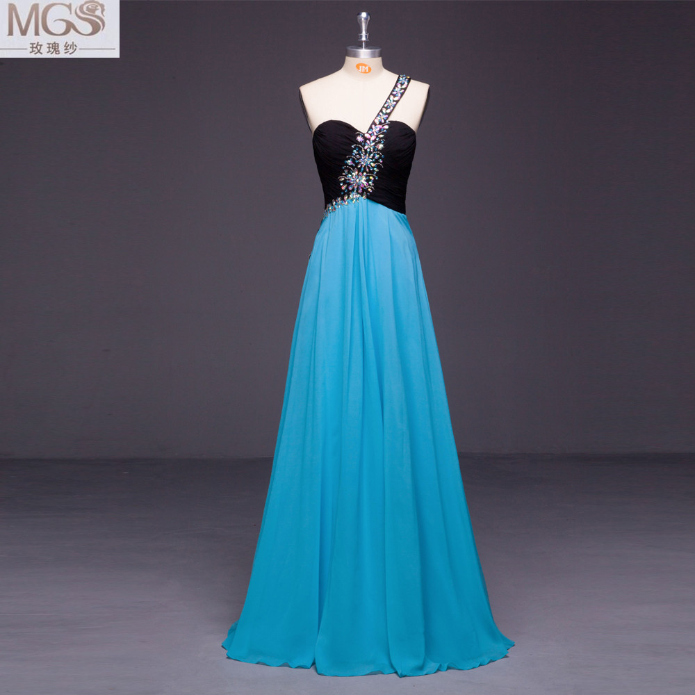 MGS A Line One Shoulder Sweetheart 2016 Unique Prom Dresses Beaded ...