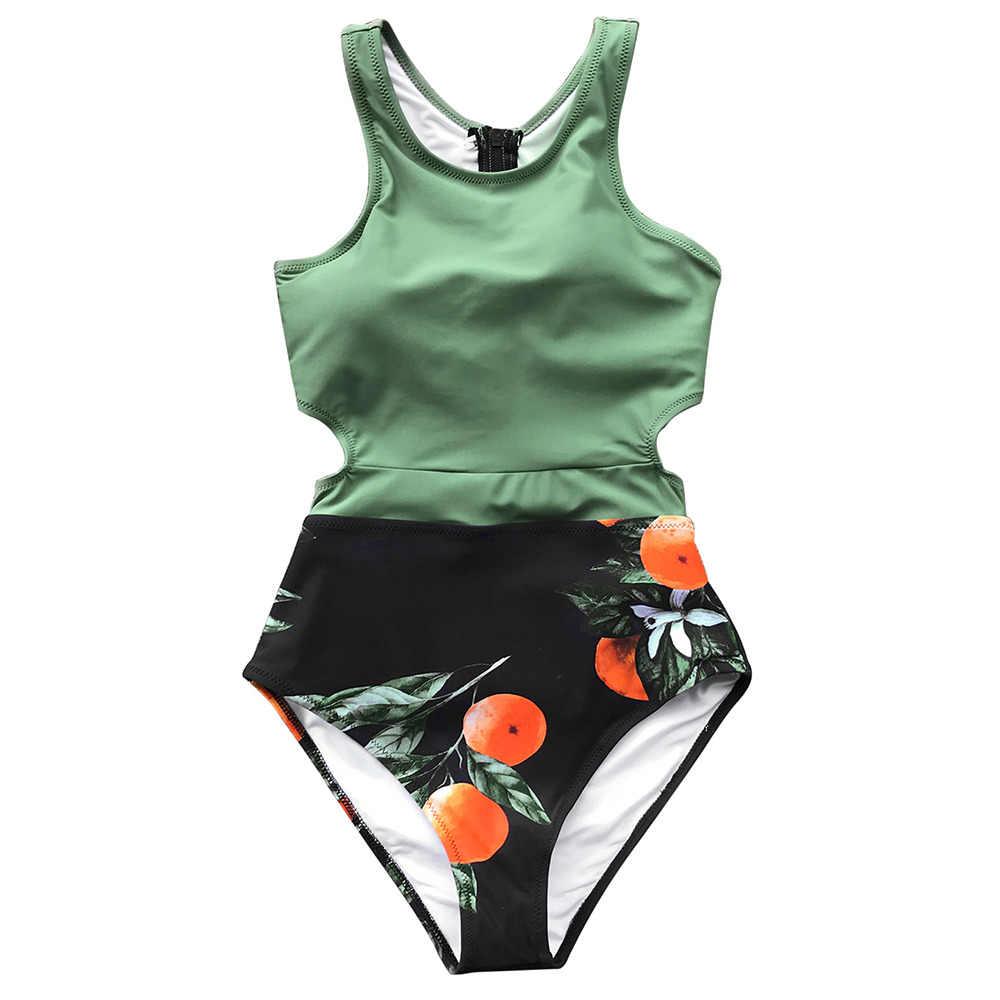 4fc0b873ca1e0 CUPSHE Green Miss U Print One-piece Swimsuit Women Tied Bow Cutout Tank  Monokini 2019