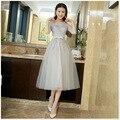 Silver Gray Tea Length Bridesmaid Dresses 2016 Cheap Stock Lace Appliques Tulle Short Bridesmaids Dress Vestido Para Madrinha